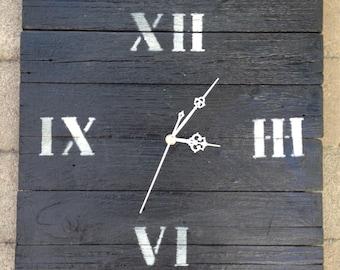 Reclaimed burnt wood clock