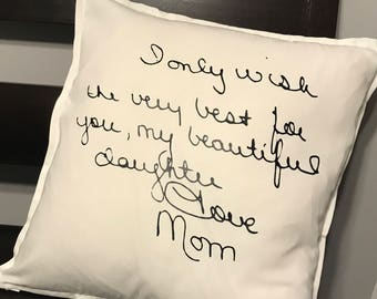 Memorial Pillow, personalized handwriting pillow, in loving memory pillow, family member memorial, personalized pillow, handwriting pillow