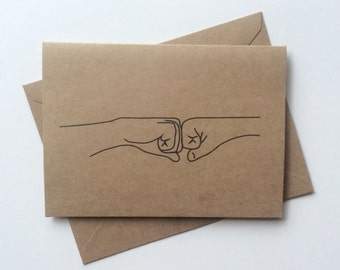 Groomsmen Cards - Fist Bump / Recycled Craft Brown Paper / Wedding Party Cards, Gift, Bridal Party, Ringbearer