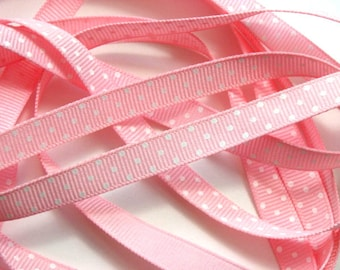 "3/8"" Grosgrain Ribbon Swiss Dots -  Pink with White Dots - 5 Yards"