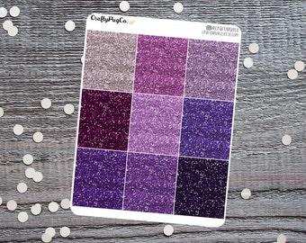 Glitter Headers PURPLE // Planner Stickers, Faux Glitter