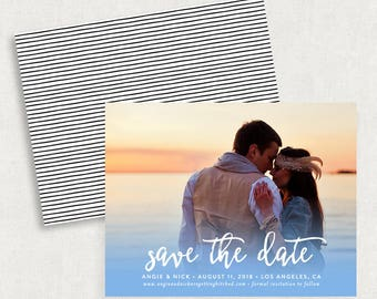 Watercolor Save the Dates, Blue Save the Dates, Photo Save the Dates, Blue Photo Save the Dates, Printable Save the Dates, Save the Date PDF