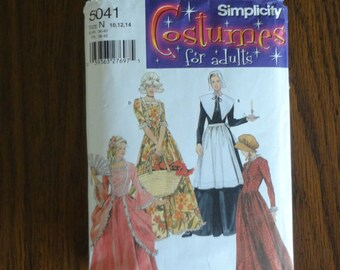 2004 Simplicity 5041 Misses 18th 19th Century Costume Size 10,12,14