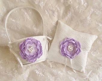 Lavender Flower Girl Basket  Ring Bearer Pillow, Wedding Ring Pillow and Basket set Ring Pillow Wedding Pillow Purple Lavender