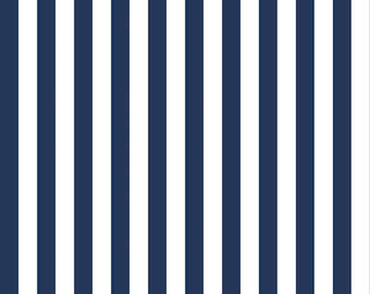 Half Inch Stripe Navy: Riley Blake Designs 1 Yard Cut