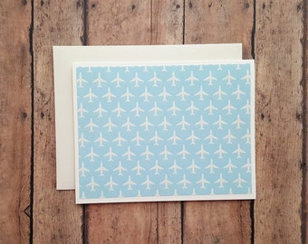 Blank Cards, Airplane Cards, Hello Cards, Just Because Note Cards, Thinking of You Cards, Any Ocassion Cards, Set of 2
