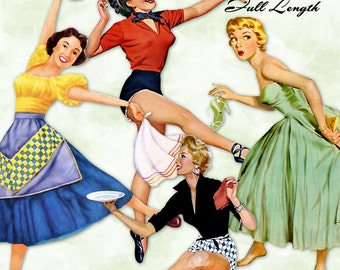 Retro Housewives Full Length |  50s Vintage Mid Century Modern Women | Clipart Instant Download