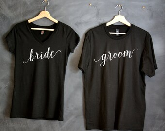 Bride & Groom T-shirt Package, Bride shirt, Groom shirt, Wedding shirts, wedding gift, bridal party shirts, honeymoon shirts, Hubs, Wifey