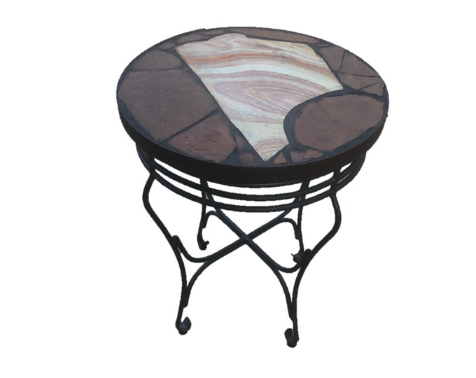 "Rhyolyte: a 23 1/2"" diameter x 29 1/2"" tall natural stone topped folk art table with a Utah rhyolyte slab focus."