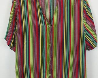 Vintage shirt, 90s clothing, shirt 90s, multicolor, oversized