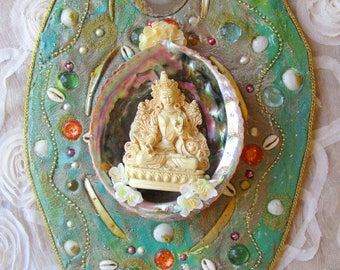 Divine Blessings of White Tara goddess of pure compassion and grace mosaic altar shrine sacred wall art
