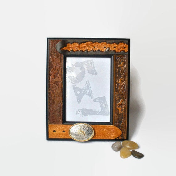 Leather Belt Picture Frame 5x7 Rustic Cowboy Tooled Belt Photo