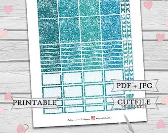 Blue Mint Emerald Glitter Planner Sickers/Erin Condren Planner Stickers/Printable Planner Stickers/Glitter Header/Glitter Fullbox/