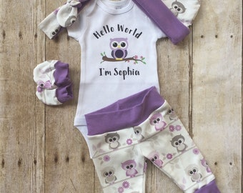 Owl Girls Coming Home Outfit, Personalized Baby Set, Purple Lilac Custom Newborn Hospital,  Baby Shower Gift, Photo Prop, Owl Layette,