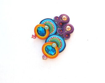 Oriental Colorful Clip On Earrings, Handmade Soutache Earrings, Unique Sparkling Jewelry with Crystals