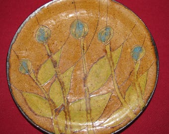 Hand-made  Ceramic Platter with Blue flowers