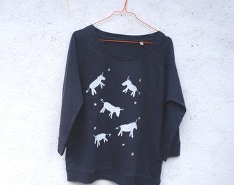 Unicorns hand printed light sweatshirt in organic cotton and tencel for women