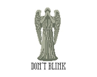 Don't Blink Weeping Angel Cross Stitch Pattern [Doctor Who]