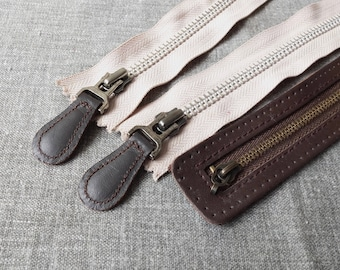 SALE Sewing Support - Japanese Antique Leather Cover Leather Drop Head Zippers,  Choose Pattern (1PCS)