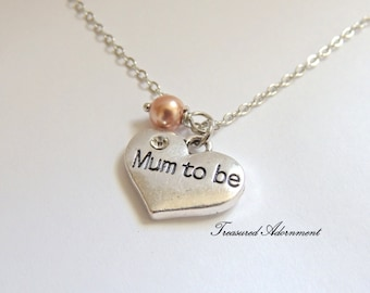 READY to SHIP, Mum to be Necklace, Heart Necklace Rose Gold Swarovski Pearl, Silver tone, Mother's day gift, Baby Shower gift, it's a girl