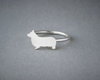 PEMBROKE WELSH CORGI Ring / Pembroke Welsh Corgi Ring / Silver Dog Ring / Dog Breed Ring / Silver, Gold Plated or Rose Plated.