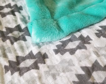 Teal Diamond Baby Blanket