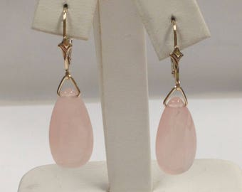 Rose Quartz Dangle Earrings Solid 14kt Yellow Gold