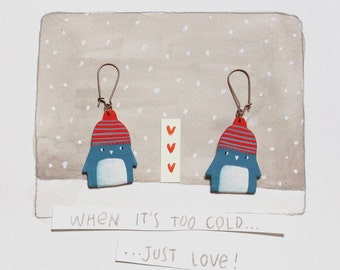 Twins Penguins earrings, illustration, papermache, entirely handmade, to make warm even the coldest days