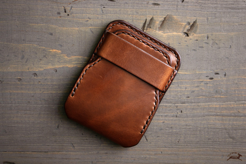 handmade leather wallet slim mens wallet minimalist front