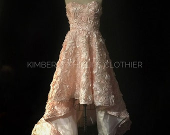 High Low Blush Floral Wedding Gown, Prom Dress- Alternate Wedding- Bridesmaid Dress- kphillipsclothier