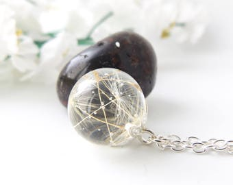 Real dandelion seeds necklace - wishes - resin orb - silver plated - nature lover gifts  - gift for gardeners - handmade in the UK