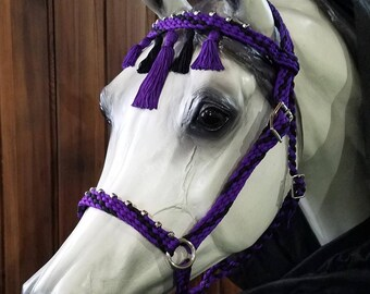 Stunning Hand Braided Bitless Sidepull Bridle, PURPLE and BLACK, Horse Tack,  **New**