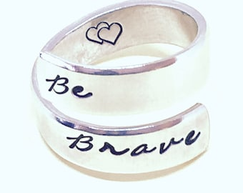 Be Brave- Spiral Ring  - Pure aluminum - Inspirational  Gift, Gift Under 20