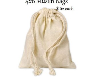 Muslin Drawstring Cloth Favor Bags (4x6)