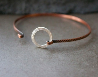Skinny Stacking Bangle bracelet with sterling circle, Copper stacking dainty bangle, Mixed metal bangle,Layering stacking bracelet