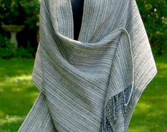 Merino Wool Wrap in Shades of Blue, Natural White and Gray