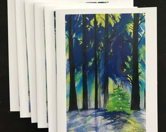 Fine Art Watercolor Christmas Card with Verse , A Lighted Forest of Tall Trees, Bare & Trees Evergreens The Winter Snow by Janet Dosenberry