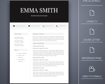 Resume Template 20 - 4 pages, Cover Letter, Microsoft Word, Instant Download, Professional Resume Template, CV Template, CV Template Word