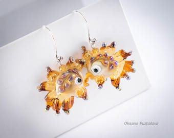 Fish Earrings for women, golden fish earrings, lampwork earrings for girl, gold fish jewelry, earrings for girlfriend or sister.
