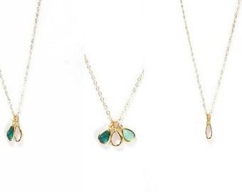 Delicate Minimal Birthstone Necklace,girlfriend sister. best friend birthstones Necklace,gift for women.mom of 1,2,3 kid present. birthstone