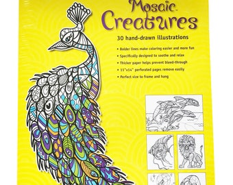Mosaic Creatures Adult Coloring Book