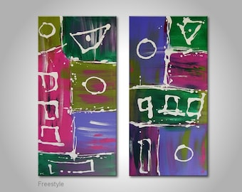 """Abstract fine art painting: """"Freestyle""""-modern piece on two canvas, 32x32 inches.Handpainted wall art with acrylics.Streched on wooden frame"""