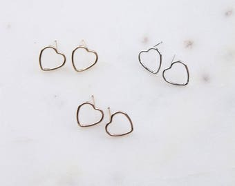 Heart Wire Stud Earrings, Simple Gold Earrings, Gift For Her, Gold Wire Heart Earrings, Silver, Gold or Rose Gold Heart Wire Stud Earrings