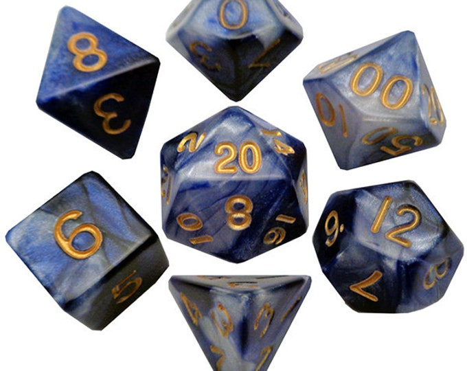 7-Die Set Combo: Blue-White/Gold - MTD120 - Metallic Dice Games