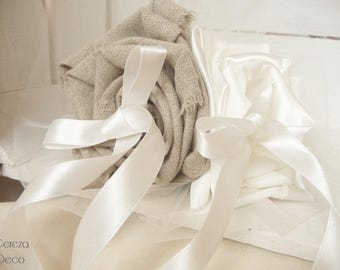 Ring bearer wedding country linen flower and ivory