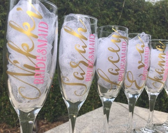 Set of 12 Personalized champagne glasses, bridesmaid glasses, wedding flutes, toasting glasses, will you be my bridesmaid