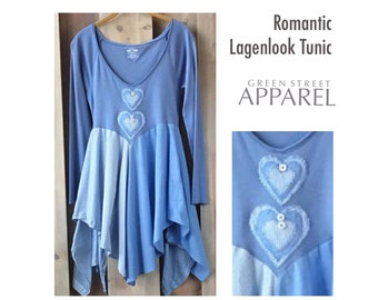 Romantic tunic, Lagenlook tunic, artsy tunic, flattering tunic, Periwinkle tunic, Women's upcycled clothing, refashioned clothing, hearts