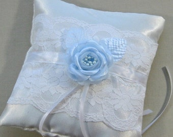 CLOSEOUT SALE White Satin and Lace Ring Bearer Pillow with Blue Rose,  Something Blue Ring Pillow, White Bridal Ring Pillow