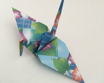 10 Japanese Paper Cranes Origami Cranes with Morning Glories
