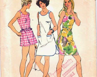 Simplicity 5017 Woman's Button Shoulder Strap Mini-Dress, Tank Top, Mini Shorts Sewing Pattern Size 10 Vintage 1970s UNCUT